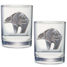 Bear Tribal Double Old Fashioned Glass Set of 2 | Heritage Pewter | HPIDOF3999