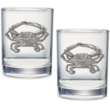 Blue Crab Double Old Fashioned Glass Set of 2 | Heritage Pewter | HPIDOF4266
