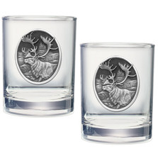 Caribou Double Old Fashioned Glass Set of 2 | Heritage Pewter | HPIDOF211