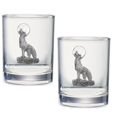 Coyote Double Old Fashioned Glass Set of 2 | Heritage Pewter | HPIDOF3130