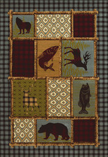 "Bear Fish Area Rug ""Acadia Park"" 