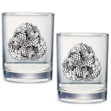Grapes Double Old Fashioned Glass Set of 2 | Heritage Pewter | HPIDOF4050