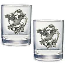 Hummingbird Flower Double Old Fashioned Glass Set of 2 | Heritage Pewter | HPIDOF4119