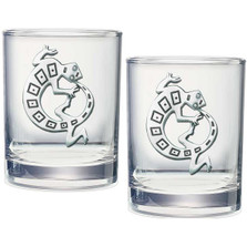 Lizard Gecko Double Old Fashioned Glass Set of 2 | Heritage Pewter | HPIDOF4054