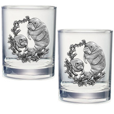 Manatee Double Old Fashioned Glass Set of 2 | Heritage Pewter | HPIDOF4110