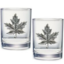 Maple Leaf Double Old Fashioned Glass Set of 2 | Heritage Pewter | HPIDOF4111