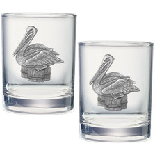 Pelican Double Old Fashioned Glass Set of 2 | Heritage Pewter | HPIDOF3320