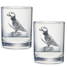 Puffin Double Old Fashioned Glass Set of 2 | Heritage Pewter | HPIDOF3570