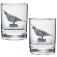 Quail Double Old Fashioned Glass Set of 2 | Heritage Pewter | HPIDOF3140