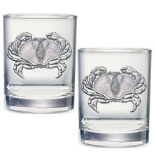 Sand Crab Double Old Fashioned Glass Set of 2 | Heritage Pewter | HPIDOF3410