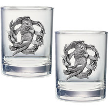 Sea Otter Double Old Fashioned Glass Set of 2 | Heritage Pewter | HPIDOF4187