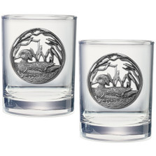 Wood Duck Double Old Fashioned Glass Set of 2 | Heritage Pewter | HPIDOF4085