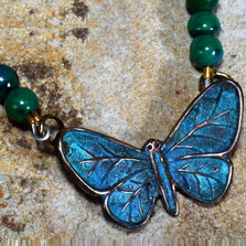 Butterfly Verdigris Brass Pendant Necklace | Elaine Coyne Jewelry | ZGP832N