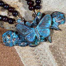 Butterfly on Roses Verdigris Brass Pendant Necklace | Elaine Coyne Jewelry | ZGP208N