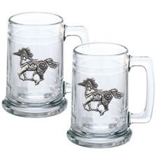Horse Tribal Beer Stein Set of 2 | Heritage Pewter | HPIST4229