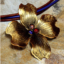 Dogwood Flower Brass Necklace | Elaine Coyne Jewelry | NSG8405PD