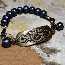 Dragonfly Antiqued Brass Rockband Bracelet | Elaine Coyne Jewelry | NVB17RB-6
