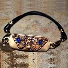 Butterfly Matte Brass Rockband Bracelet | Elaine Coyne Jewelry | BUAB65RB-1