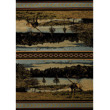 "Deer Area Rug ""Antler Lake""  