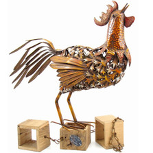 Rooster Metal Outdoor Sculpture | Zaer LTD, Intl. | ZR103001