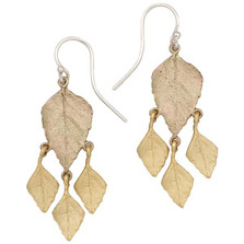 Autumn Birch 4 Leaf Dangle Wire Earrings | Michael Michaud Jewelry | 3169GMG