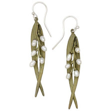 Rice Double Leaf Pearl Wire Earrings | Michael Michaud Jewelry | 3173BZWP