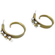 Rice Pearl Hoop Post Earrings | Michael Michaud Jewelry | 3175BZWP