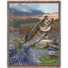 "Largemouth Bass Tapestry Throw Blanket "" First Strike"" 