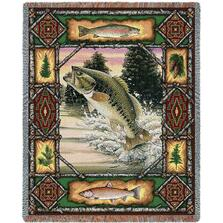 Fish Lodge Bass Tapestry Throw Blanket | Pure Country | 3342T