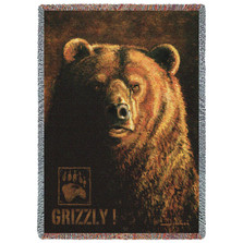 "Grizzly Bear Tapestry Throw Blanket ""Shadow Beast"" 