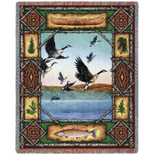 Geese Lodge Tapestry Throw Blanket | Pure Country | 3343T