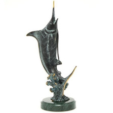 Marlin Hunting Brass and Marble Sculpture | 30816 | SPI Home