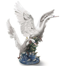 "Swans Porcelain Figurine ""Take Flight"" 