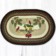 Cardinal Christmas Birdhouse Oval Patch Rug | Capitol Earth Rugs