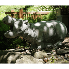"""Hippie"" the Hippo Outdoor Concrete Garden Statue 