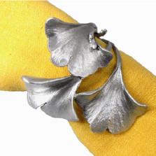 Gingko Napkin Rings Set of 4  | Michael Michaud Table Art | TAnr9410ap
