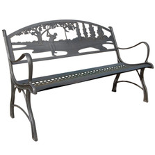 Golf Cast Iron Garden Bench | Painted Sky | PB-IGF-100BR
