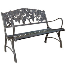 Grapes Cast Iron Loveseat Garden Bench | Painted Sky | PBLS-GP