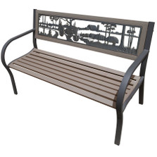 Farmstead 2-Tone Tube Steel Outdoor Bench | Painted Sky | TSB2-FM