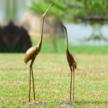 Crane Pair Aluminum Sculptures   33688   SPI Home