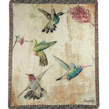 Hummingbird Floral Tapestry Throw Blanket | Manual Woodworkers | ATHBFL