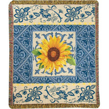 Sunflower Indigo Tapestry Throw Blanket | Manual Woodworkers | ATNDSF