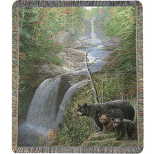 "Bear and Cubs Tapestry Throw Blanket ""Autumn Mist""  