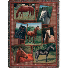 Horse Tapestry Throw Blanket Horsing Around | Manual Woodworkers | ATHRSA