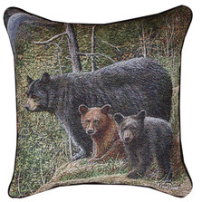 Bear and Cubs Autumn Mist Tapestry Pillow | Manual Woodworkers | TLAUMS