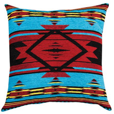 Southwest Flame Blue Tapestry Throw Pillow | Manual Woodworkers | APFB20