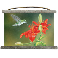 "Hummingbird Canvas Wall Hanging ""Lily Ruby Throat"" 