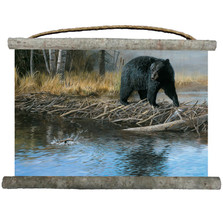 "Black Bear Canvas Wall Hanging ""No Trespassing"" 
