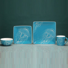 Jellyfish Dinnerware 4 Piece Place Setting | Unison Gifts | TCDJELLYFISH