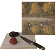 "Loon Cutting Board ""Autumn Morning Shoreline"" 